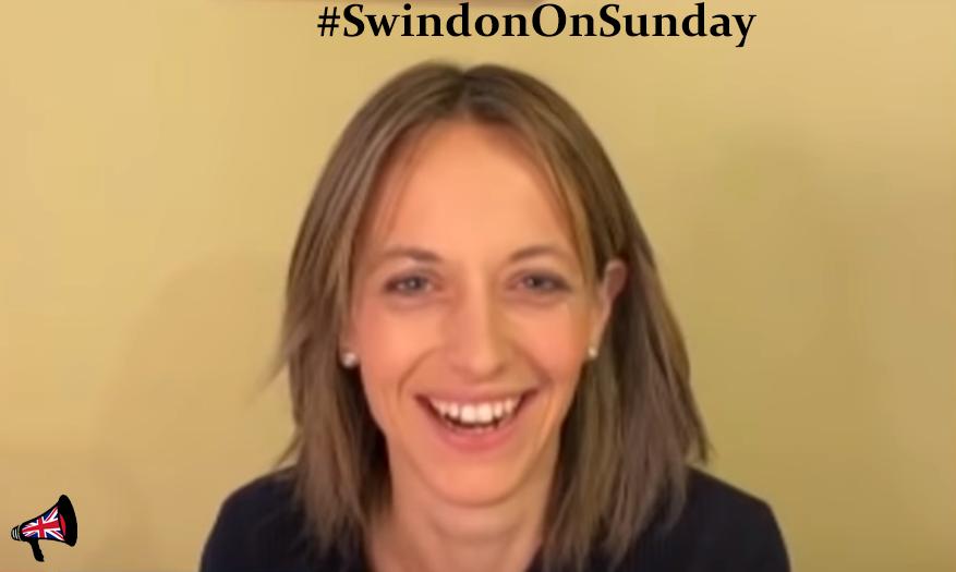 Helen Whatley laughing at student nurses - Swindon on Sunday