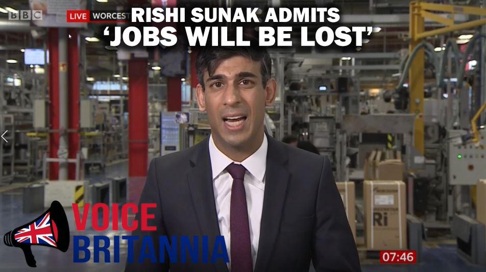 RISHI SUNAK ADMITS JOBS WILL BE LOST TITLE