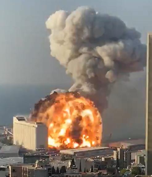 Beirut explosion fireball a split second before the blast